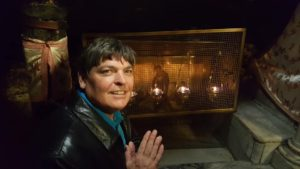 Another Prayer of Smiles & Joy at the Manger, about 10 feet from the spot where Jesus was born in the Nativity Grotto under the altar in the Church of the Nativity in Bethlehem, Palestine!