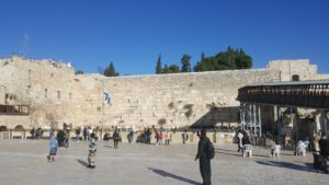 The Western Wall straight ahead with the 'temporary' bridge to the Temple Mount on the right.