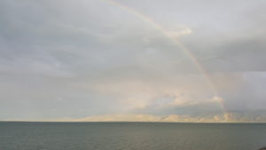 A sign of God's Covenant with US! A rainbow over the Sea of Galilee!