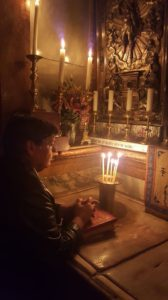 Praying inside the Empty Tomb, for myself, family, friends, & strangers... for peace in our world!