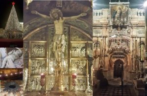 Birthplace, Manger, Baby Jesus, and Christmas Tree from Bethlehem; Calvary and Empty Tomb with Risen Lord Above at Chiurch of the Holy Speulchre in the Old City of Jerusalem (From Lower Left Corner Clockwise)