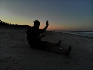 Me on the beach and my Buddy Drone overhead; enjoying the sunset over the Atlantic Ocean in Ponte Vedra Beach, Florida!