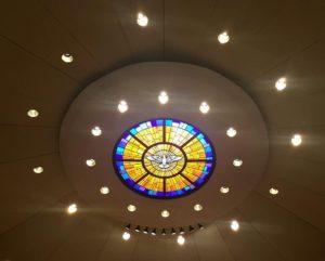 The Holy Spirit above the altar at St. Thomas Aquinas Church in Binghamton, New York!