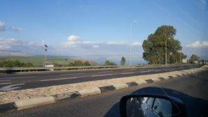 First sighting of the Sea of Galilee coming down into Tiberias...