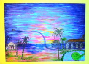 "One of the many pieces of artwork created by Sarita May, this one a gift to me and of course my favorite! ""Life's Journey Brings One to a Sunrise in Paradise,"""