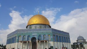 The Dome of the Rock (Qubbat As-Sakhrah) is the spot from which the Islamic prophet Muhammad ascended to Heaven accompanied by the angel Gabriel. For Jews and Christians this stone is the site where Abraham prepared to sacrifice his son Isaac (Genesis 22:1-19).