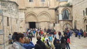 The Church of the Holy Sepulchre contains the two holiest sites in Christianity: the site where Jesus was crucified at Calvary (Golgotha) and Jesus's Empty Tomb where he was resurrected from the dead.